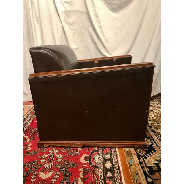 French Art Deco Leather Train Sleeper Club Chairs For Sale - Image 10 of 12
