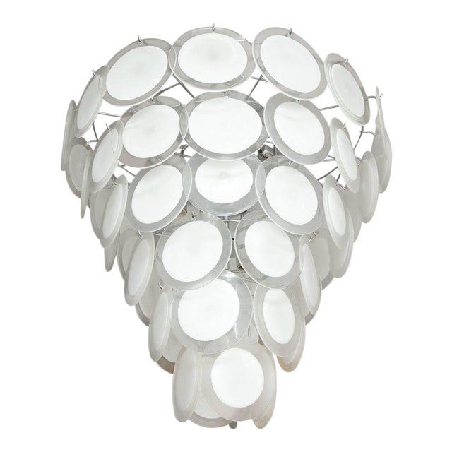 Murano White Glass Disc Chandelier For Sale