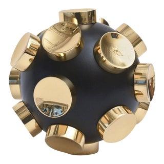 Modernist Brass and Black Resin Round Sculpture
