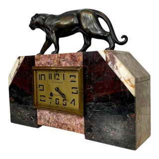 Art Deco Moderne Marble Mantel Clock With Bronze Panther, French, Circa 193 For Sale