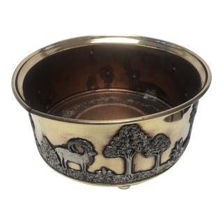 African Wildlife Brass and Silverplate Jardinere For Sale