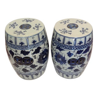 Pair of Blue and White Terra Cotta Garden Seats For Sale