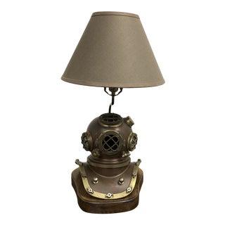 Vintage Reproduction Us Royal Navy Antique Diver's Helmet Table Lamp For Sale