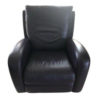 Italian Leather Recliner Rocker Swivel Chair in Aubergine Color