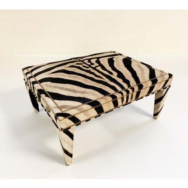 FORSYTH Forsyth Zebra Hide Parsons Style Ottoman For Sale - Image 4 of 11