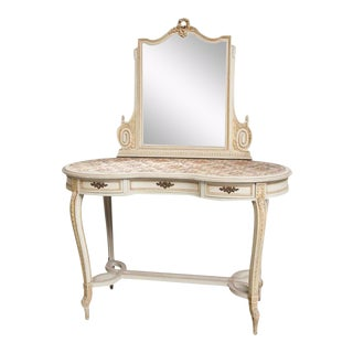 Vintage Vanity Dressing Table with Mirror from Belgium castle For Sale