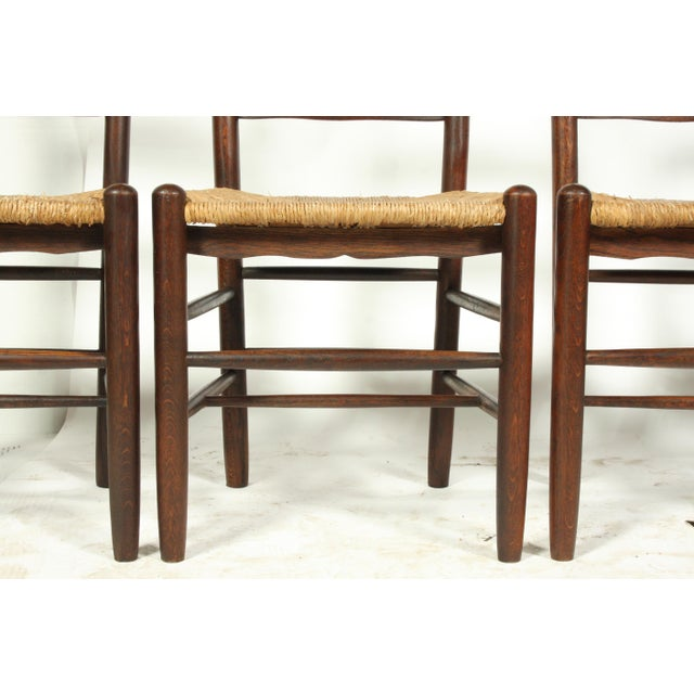Wood Six French Farmhouse-Style Oak Ladder Back Dining Chairs With Rush Seats For Sale - Image 7 of 12