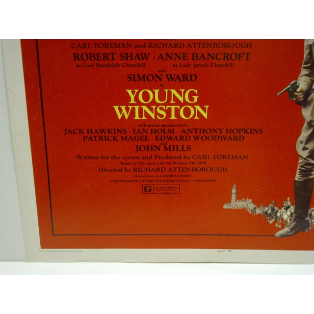 """1972 Vintage """"Young Winston"""" Movie Poster For Sale - Image 4 of 4"""