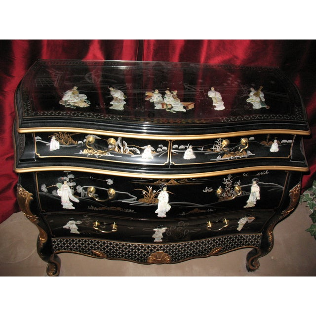 Hand Painted Black Lacquer Dresser - Image 3 of 4
