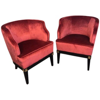 Maison Jansen Style Black Lacquered and Gilt Tub Chairs For Sale