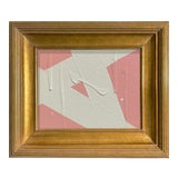 Image of Ron Giusti Mini Abstract Blush and Cream Acrylic Painting, Framed For Sale