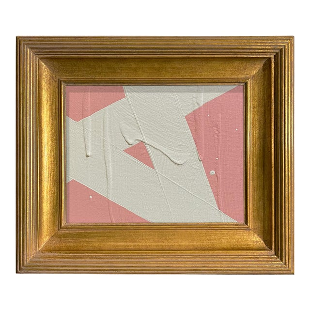 Ron Giusti Mini Abstract Blush and Cream Acrylic Painting, Framed For Sale