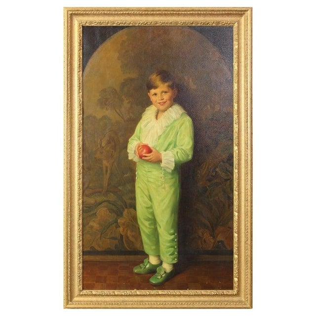 Paint Portrait of Boy in Green For Sale - Image 7 of 7