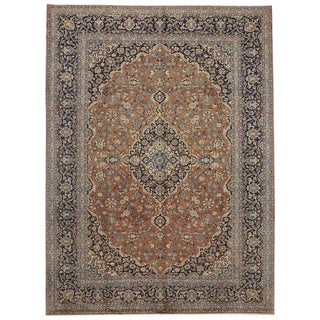 Vintage Persian Kashan Traditional Style Area Rug - 9′6″ × 12′9″ For Sale
