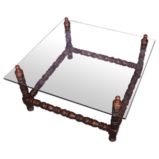 Baroque Turned Wood Glass Top Table Preview