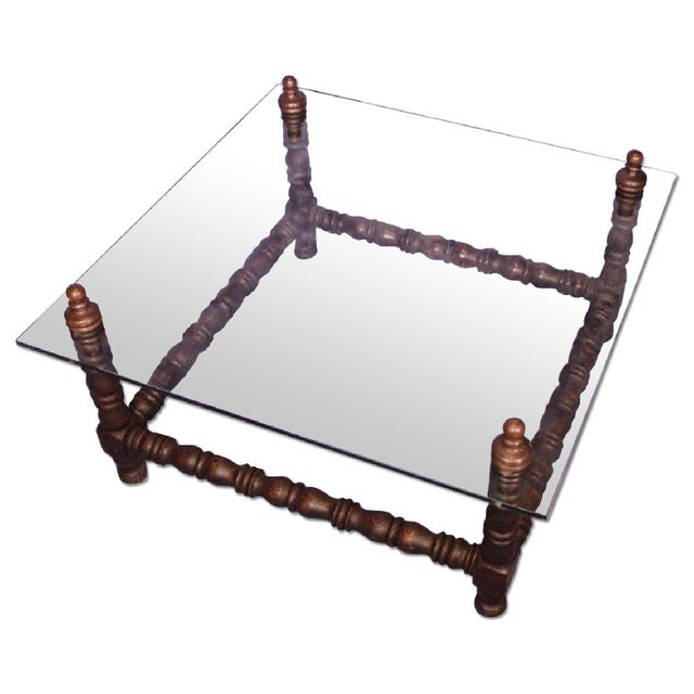 Baroque Turned Wood Glass Top Table - Image 2 of 8