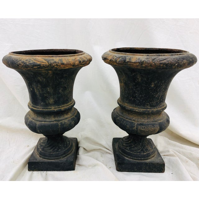 Black Pair Petite Antique Iron Urns For Sale - Image 8 of 8