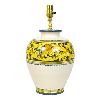 Large Yellow & Cream Hand Painted Ceramic Lamp For Sale