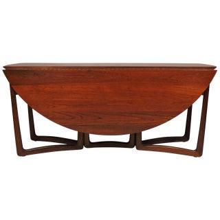 Hvidt Nielsen Danish Modern Solid Teak Drop-Leaf Dining Table Model 20/59 For Sale