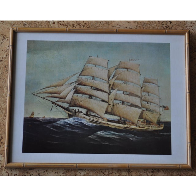 Nautical Vintage Nautical Ship Prints in Bamboo Frames - a Pair For Sale - Image 3 of 7