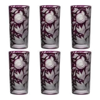 Verdure Highball Glasses, Set of 6, Purple For Sale