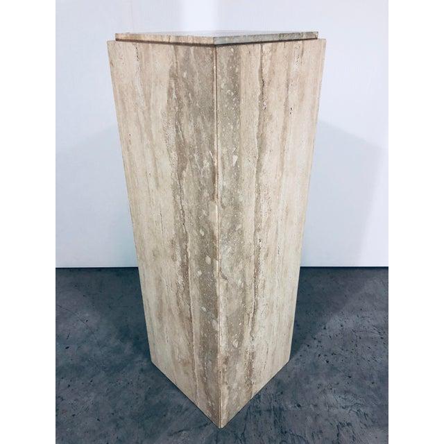 Modern 1970s Mid-Century Modern Italian Travertine Pedestal Table For Sale - Image 3 of 10