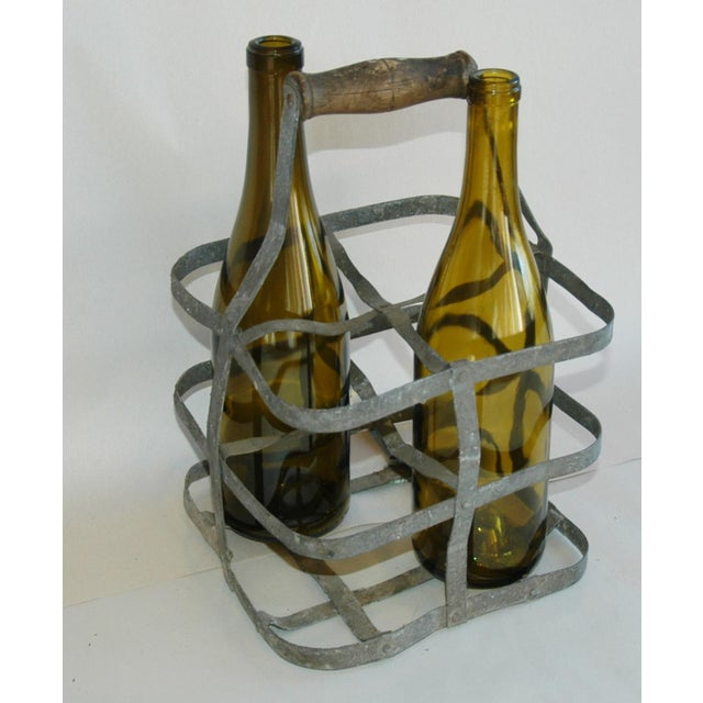 Metal 1930s French Gray Porte Bouteille Zinc 4-Bottle Wine Carrier For Sale - Image 7 of 8