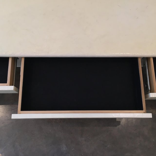 Mid Century Modern Ron Seff Lacquered Goatskin & Chrome Floating Buffet w/ Velvet Lined Silver Drawers - Image 7 of 9