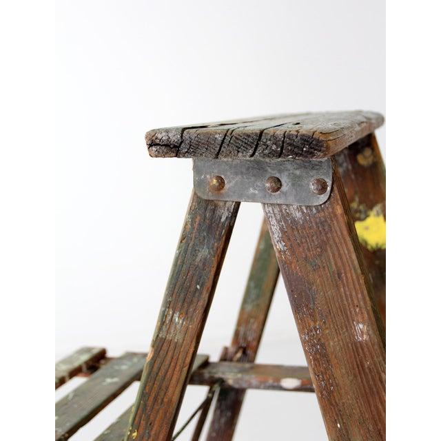 Wood Vintage Green Wood Ladder For Sale - Image 7 of 9