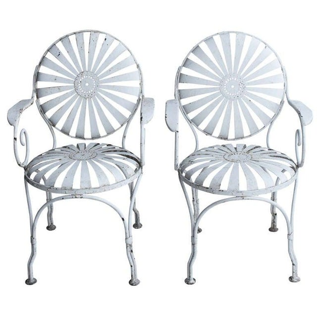 1940s Vintage Francois Carre French Art Deco Iron Pair Sunburst Garden Side Chairs- a Pair For Sale - Image 4 of 4