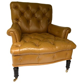 Tufted Leather Upholstered Mahogany Library Chair on Casters For Sale