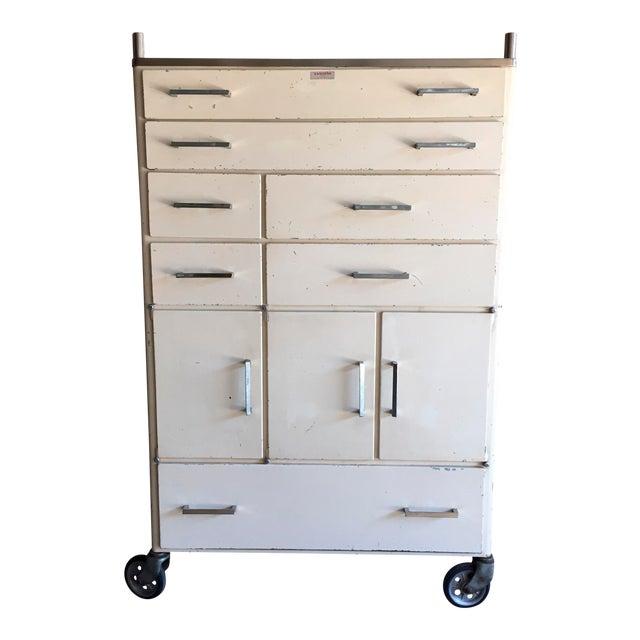 Vintage Mid-Century Medical Rolling Cabinet For Sale