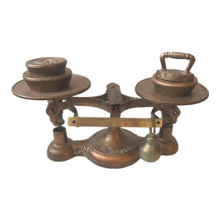 Antique Fairbanks Cast Iron Brass Copper Scale With Weights For Sale