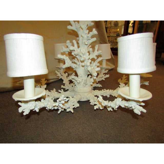 Faux Coral 6 Lamp Chandelier - Image 4 of 5