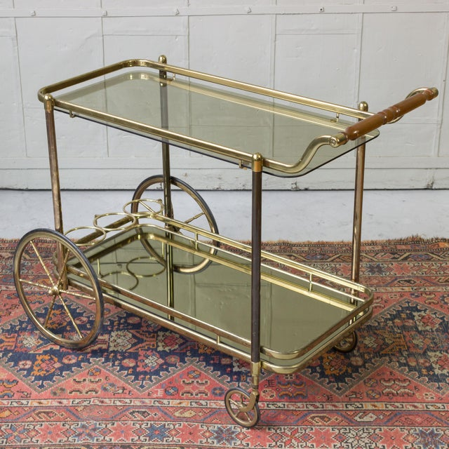 Brass Bar Cart With Glass Shelves - Image 11 of 11