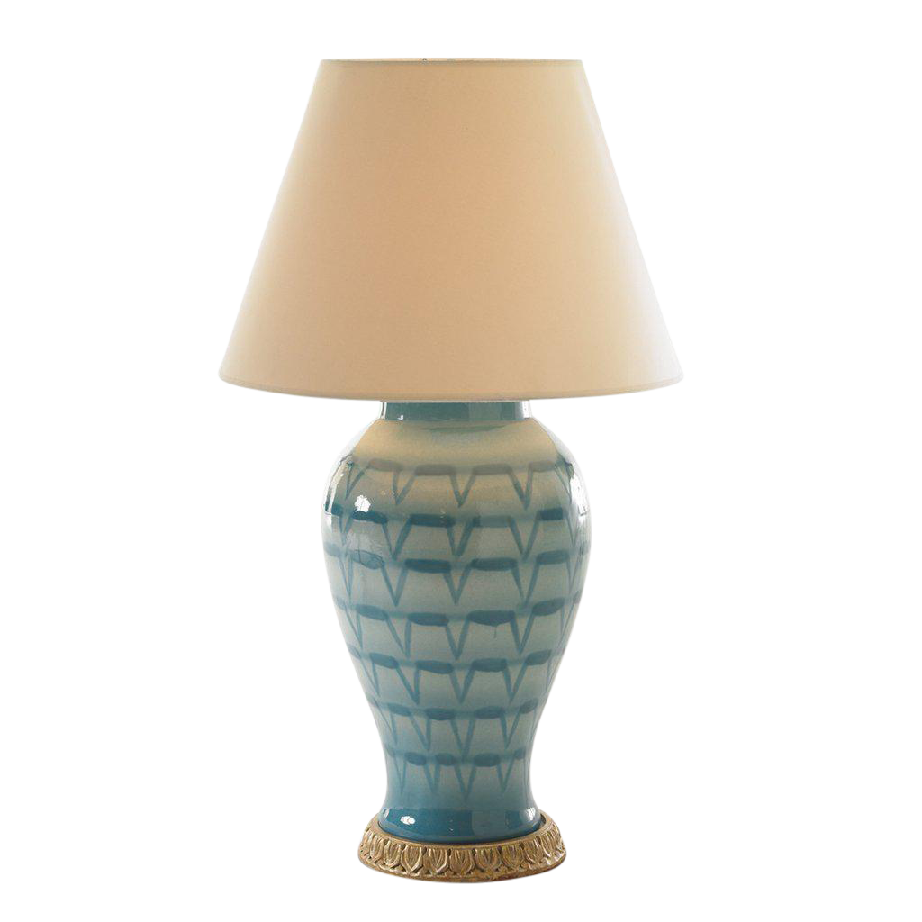 Bunny Williams Turquoise Lamp With Ivory Shade