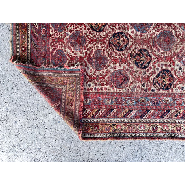 Antique Distressed Persian Khamseh Boho Tribal Rug - 5x9 Wide Runner For Sale - Image 4 of 7