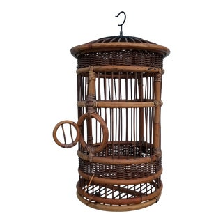 1970s Mid-Century Modern Outdoor Rattan Bird Cage For Sale