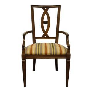 Italian Century Furniture Walnut Dining Arm Chair For Sale