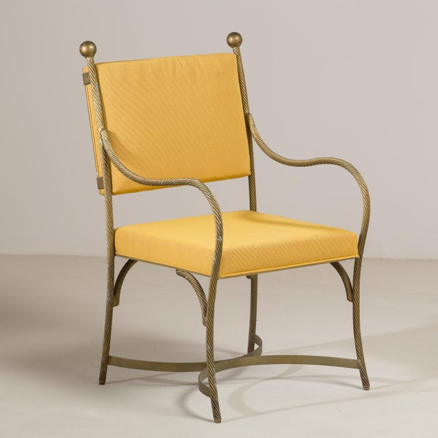 1960s A Set of Three Heavy Simulated Rope Metal Chairs 1960s For Sale - Image 5 of 5