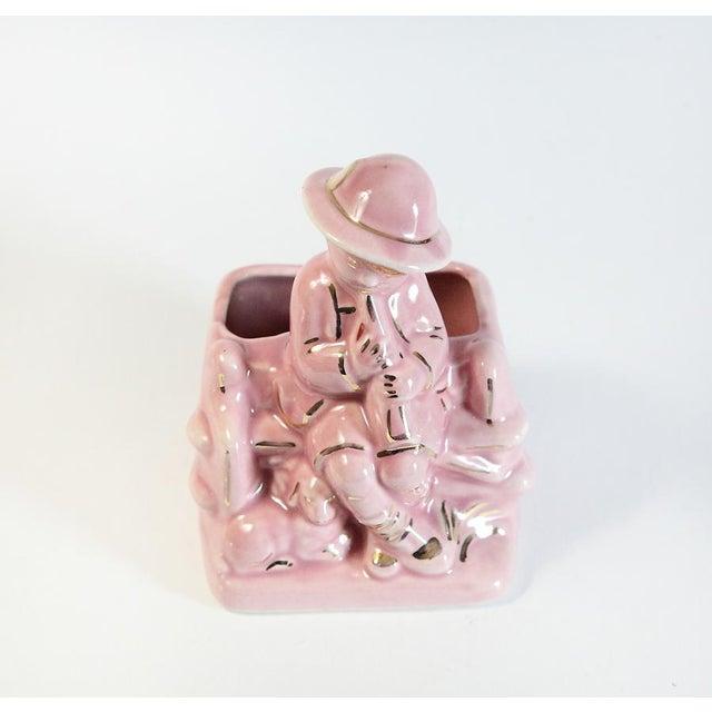 Pink Boy & Sheep Figurine Vase For Sale - Image 4 of 6