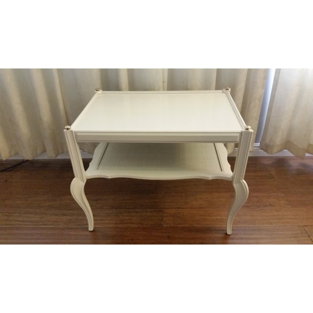 White Solid Wood & Cane Two-Tier End Table - Image 3 of 6