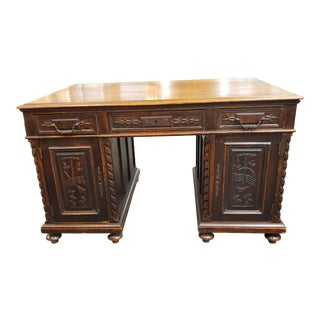 Antique 19th Century Carved Partners Desk For Sale