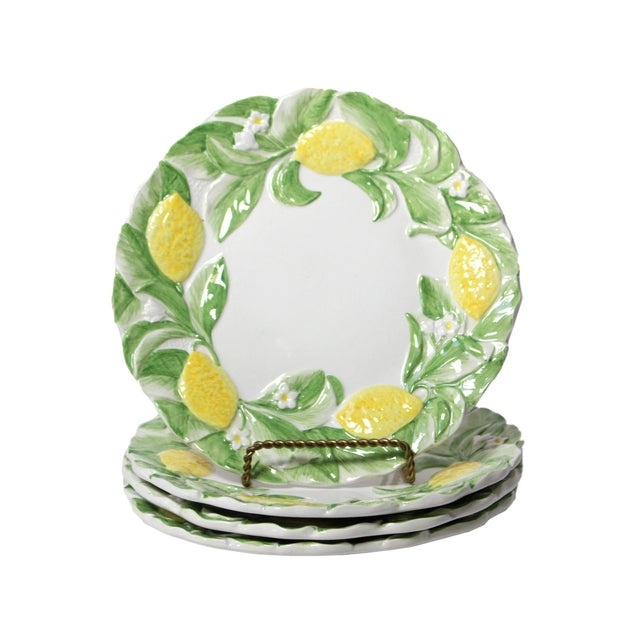 Majolica Italian Majolica Lemon Luncheon Plates - Set of 4 For Sale - Image 4 of 4