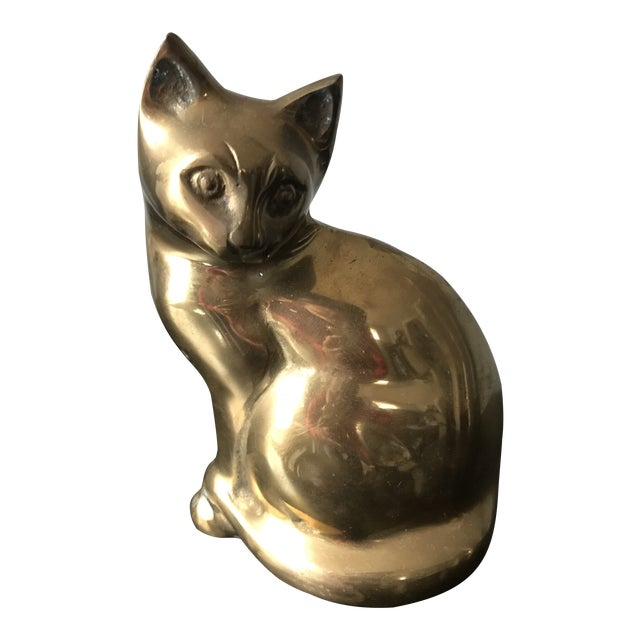 1970s Vintage Hollow Brass Seated Cat Kitten Figurine For Sale