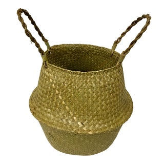 Natural Straw Collapsible Basket For Sale