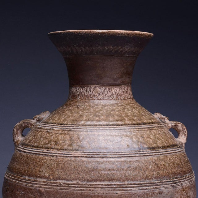 15th Century & Earlier Warring States Glazed Terracotta Hu For Sale - Image 5 of 6