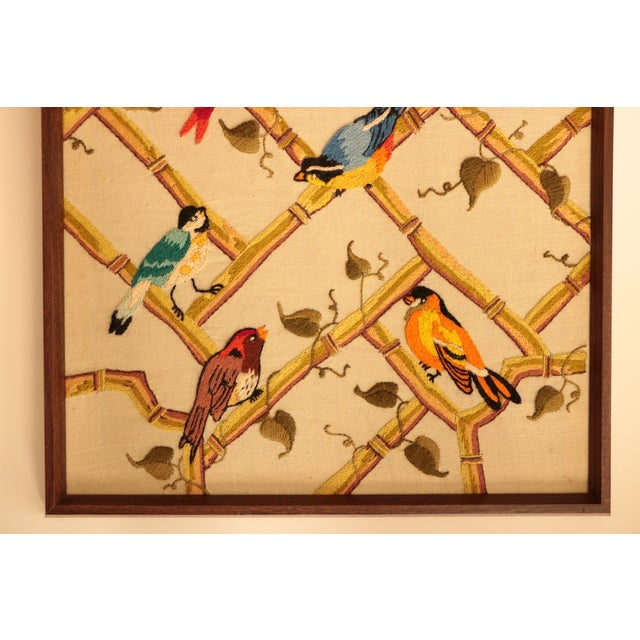 Songbirds on Bamboo Lattice - Framed Crewel Embroidery - Image 3 of 7