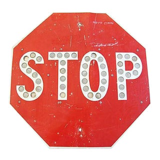 1950s Button Reflector Stop Street Sign For Sale
