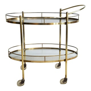 Two-Tier Vintage Brass & Glass Bar Cart